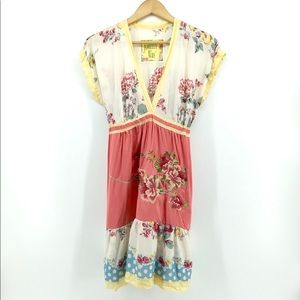 JOHNNY WAS | Embroidered Floral Print Silk Dress